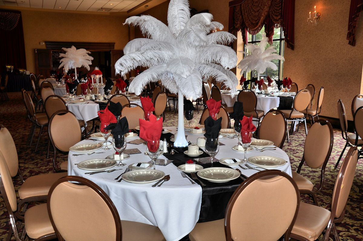 Red and black wedding decor  Ostrich Feather Table Centerpiece with red white and black wedding