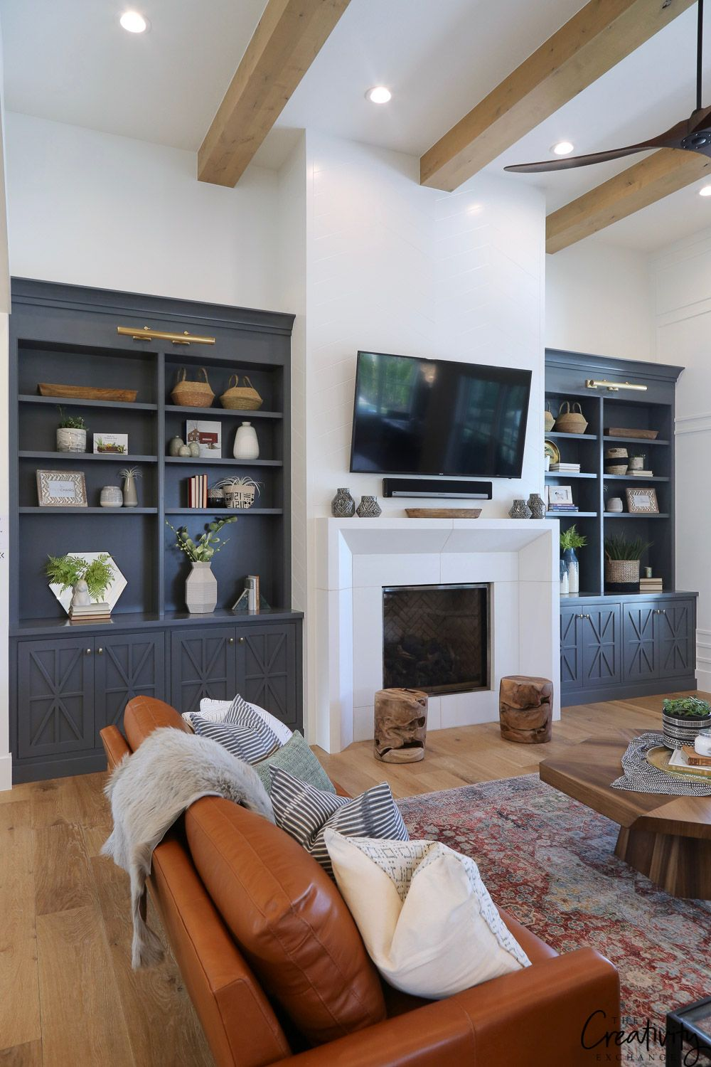 Best Modern Farmhouse Home Tour Millhaven Homes Family Room 400 x 300