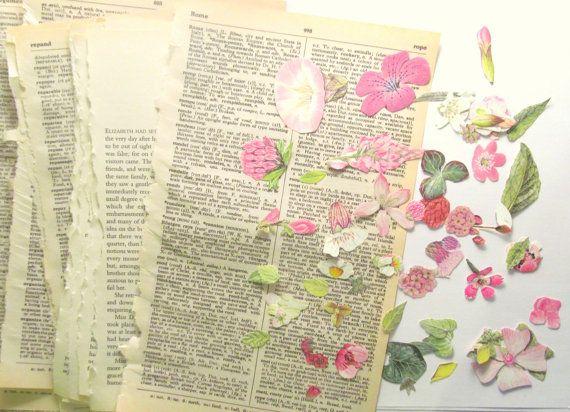 Vintage flower decoupage kit die cut by PinkFlamingoEphemera, £4.50