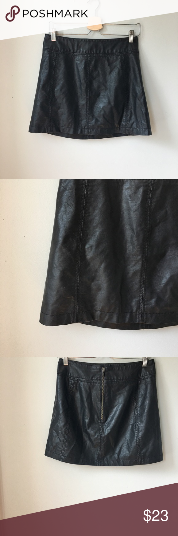 Free People Faux Leather Mini Skirt The quintessential Free People faux leather mini that will always be in season xx badgal Free People Skirts Mini