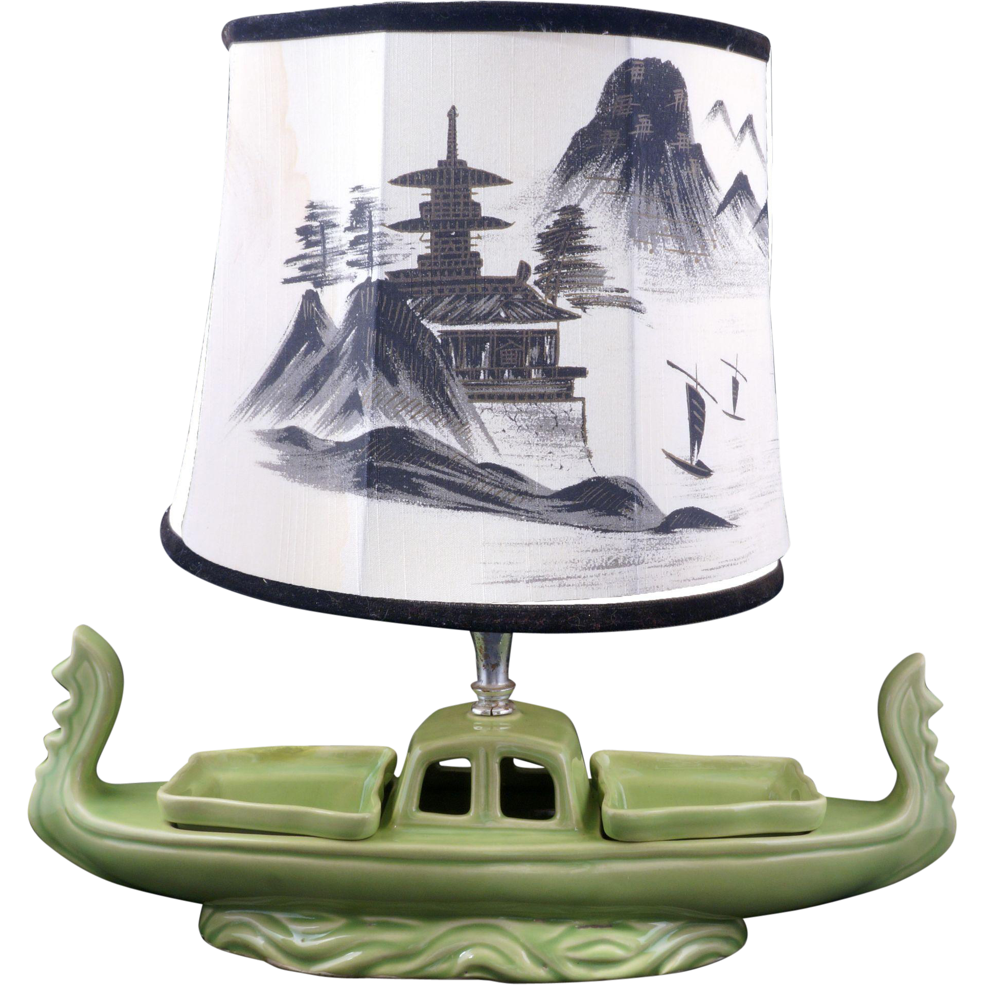Mid century lime green oriental boat lamp serving piece circa mid century lime green oriental boat lamp serving piece circa 1950 geotapseo Image collections