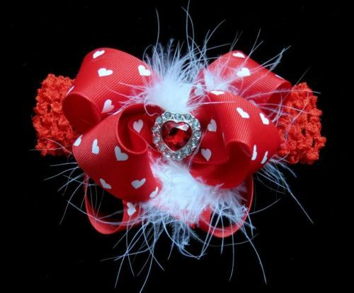 RED Valentines Day hearts BIG Hair bow headband Boutique bling pageant Cici's