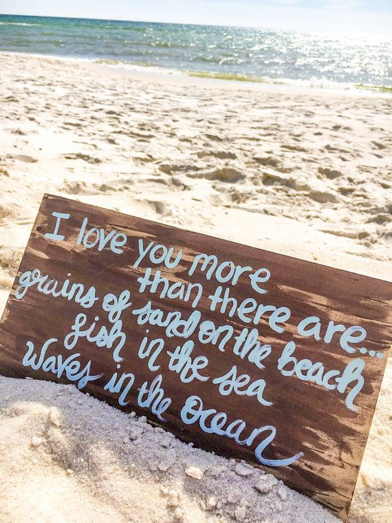 Romantic Beach Quote Sign I Love You More Sign Beach Wall Art