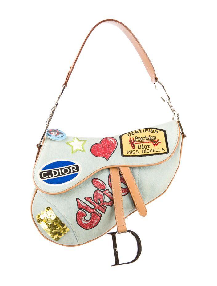 Christian Dior Vintage Speedway Miss Diorella Denim And Leather Limited Edition Saddle Bag Dior Saddle Bag Purses And Handbags Fashion Bags
