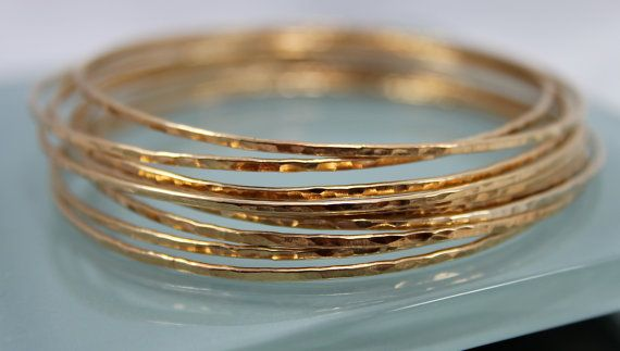 Set of 10 14k Gold Filled Sparkle  Bangle Hand Forged Hammer Texture Bright Finish Stacking Bracelet on Etsy, $125.00