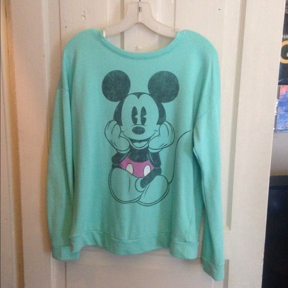 Mint green Mickey mouth crew neck Mint green Mickey Mouse
