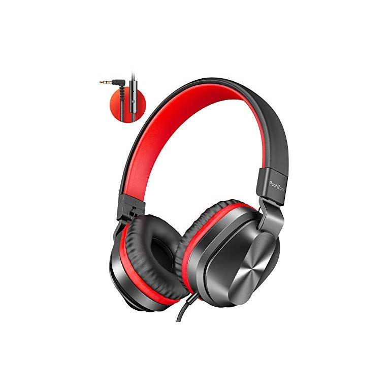 Peohzarr On Ear Headphones With Microphone Lightweight Folding Stereo Bass Headphones With 1 5m Tangle Free Cord Portable Wired Headphones For Smartphone Tablet Laptop Computer Mp3 4 In 2020 Headphones With Microphone Headphones In
