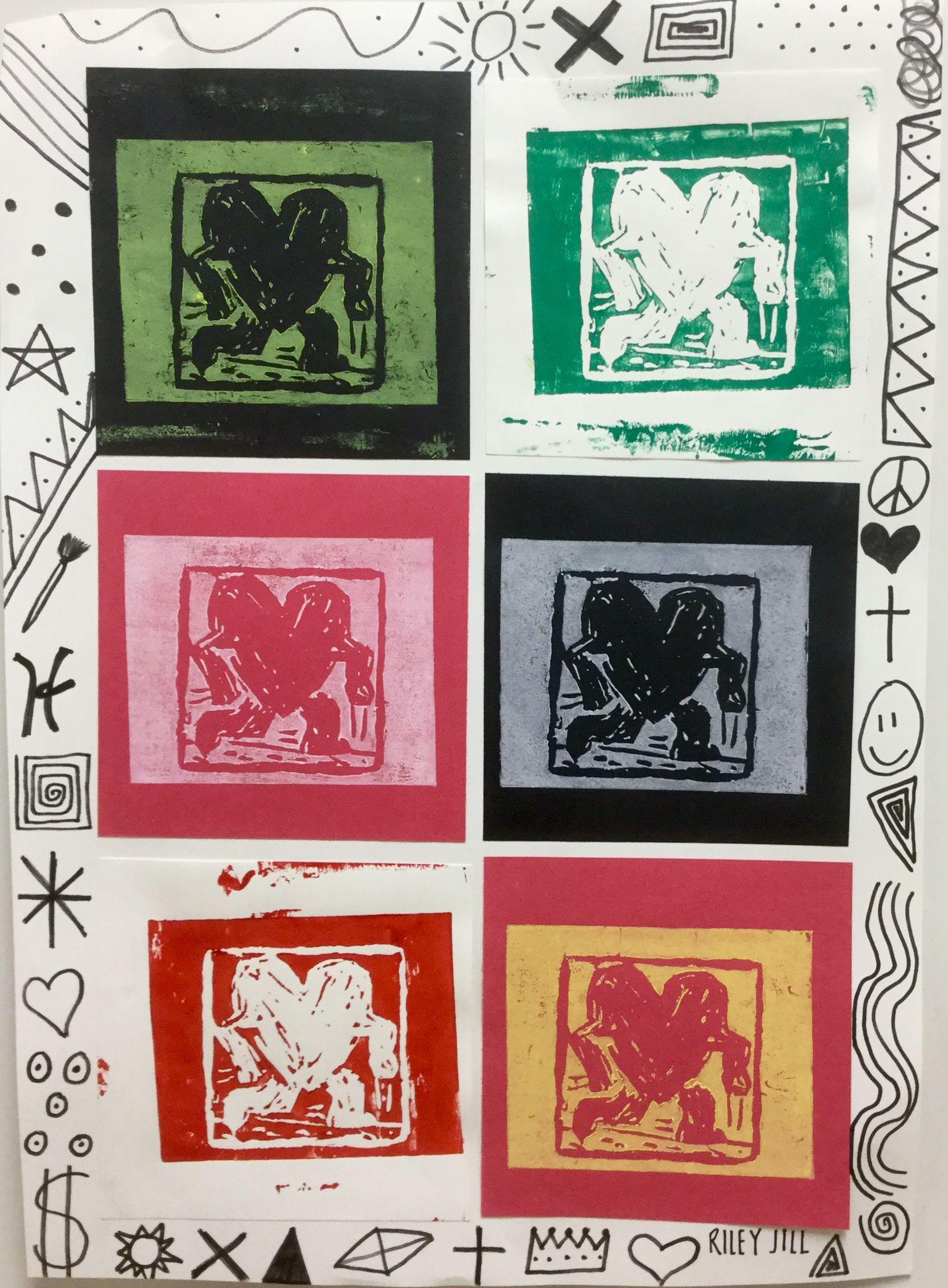 8th Grade Keith Haring Printmaking 2soulsisters