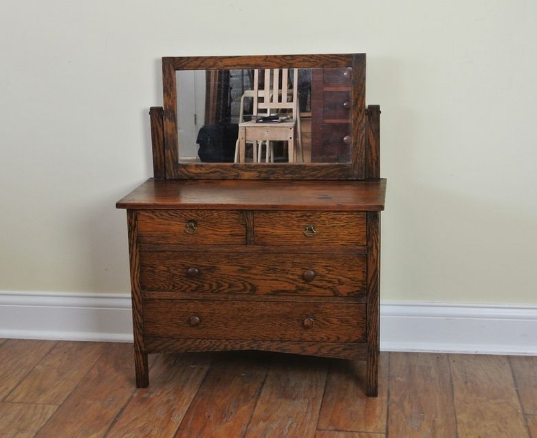 Antique Small Oak Dresser With Mirror