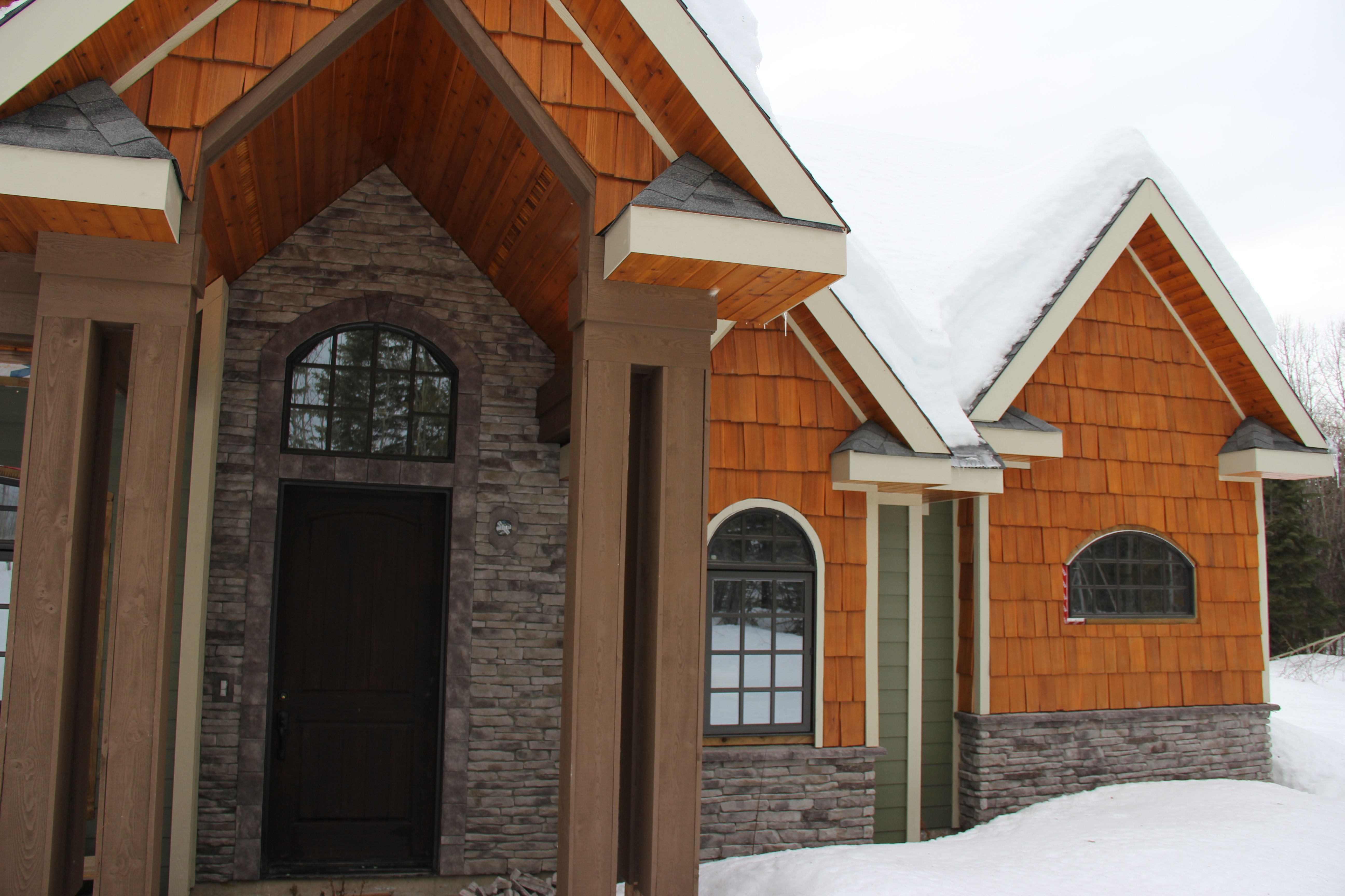 A Cozy Winter Wonderland Including Our Black Bear Stone Veneer