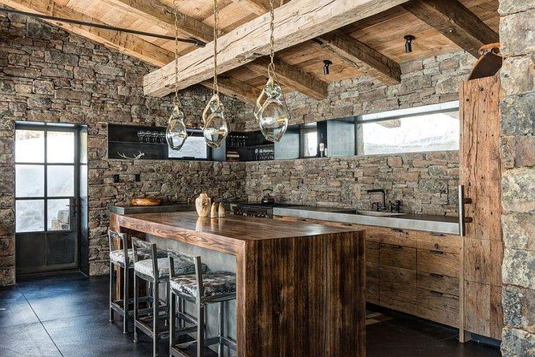 30 Inventive Kitchens With Stone Walls Modern Kitchen Design