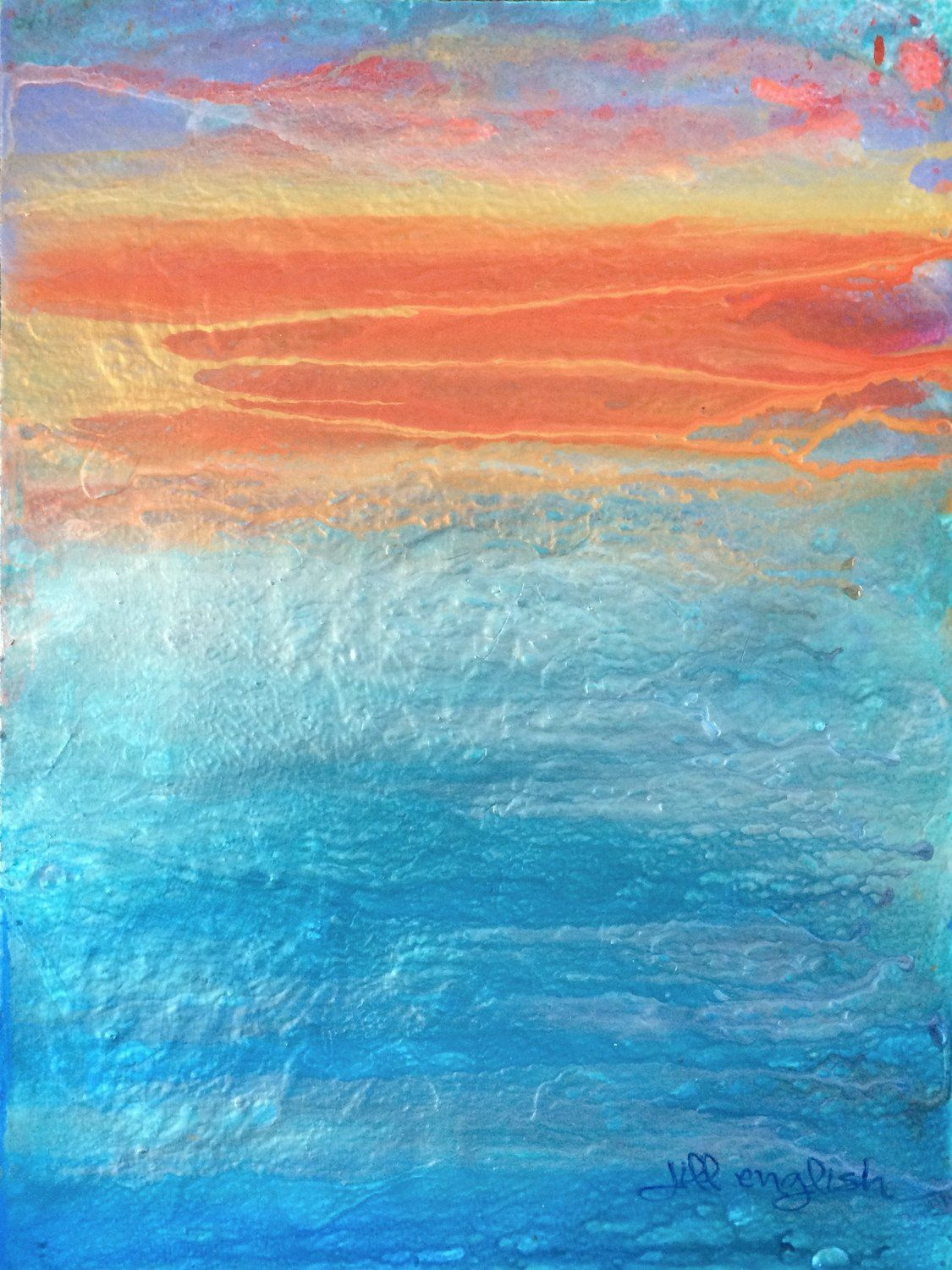 """9"""" X 12"""" Acrylic abstract on linen paper. Needs frame. This original abstract is painted with layers of tinted acrylic glazes on fine art paper. The blue tones are mixed with pearl paint so that this"""