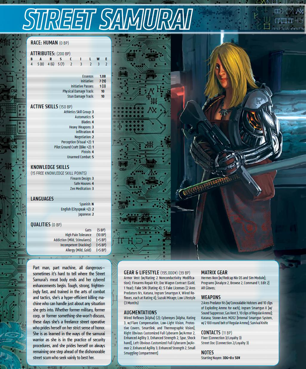 El Samurai callejero.   Character Concept   Pinterest   Shadowrun ...