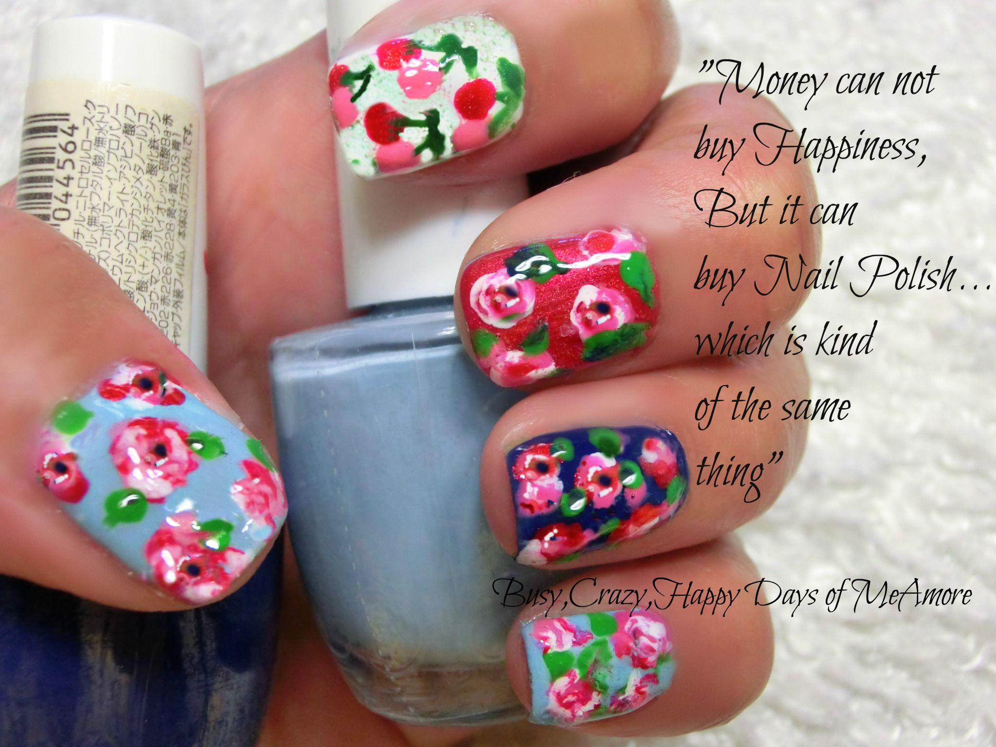 Simple Pleasure of a SAHM...   Don't want to spend extra money for branded items, why not DIY?   Cath Kidston inspired nail art