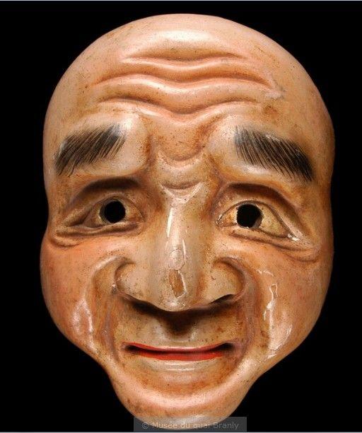 Probablement masque de Nô, pour un rôle de vieillard.