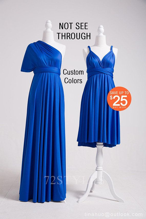 275b8119fe76 Convertible Bridesmaid Dress Royal Blue, Convertible Wrap Dress, Convertible  Maxi Dress, 72 Styles Convertible Dress, SHORT, LONG, PLUS Size