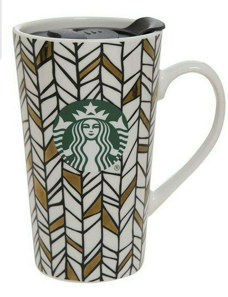Starbucks Ceramic Mug With Lid Pattern (GEO) With Green