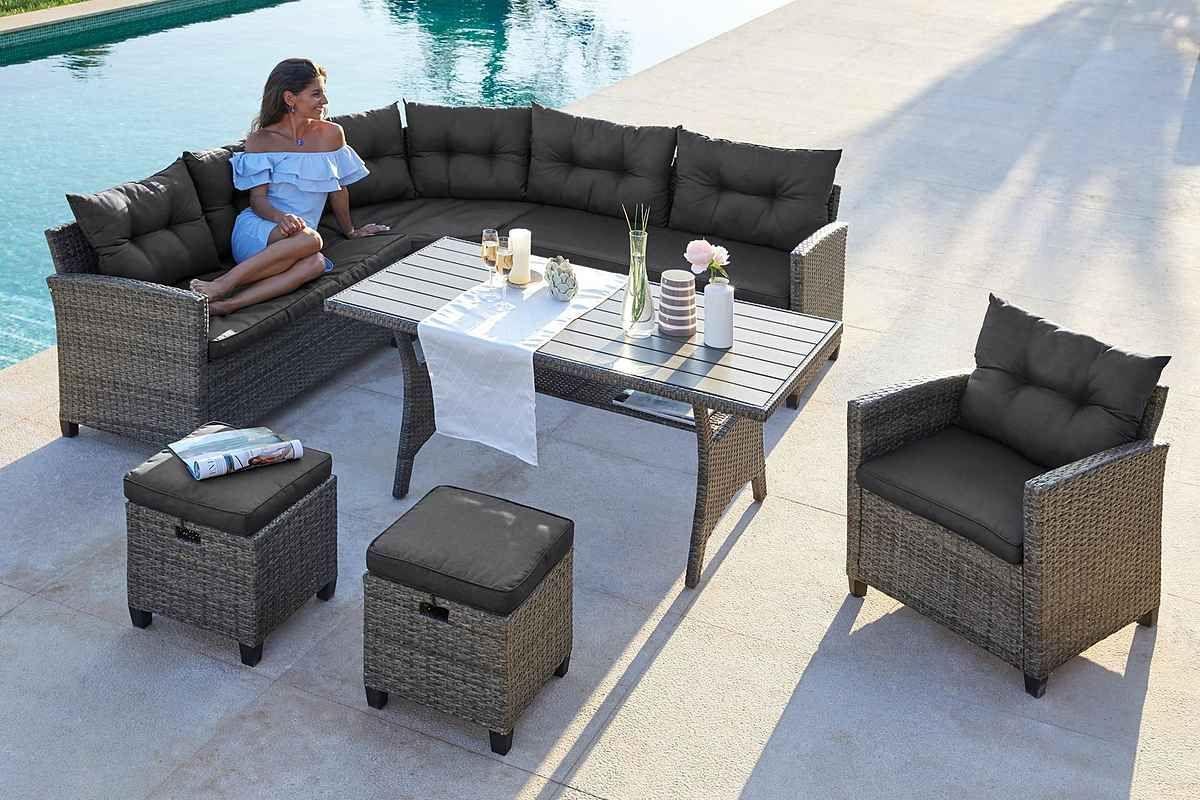 Konifera Loungeset Keros Premium 20 Tlg Ecklounge 2 Hocker Sessel Tisch Polyrattan Online Kaufen Otto Sessel Aussenmobel Polyrattan
