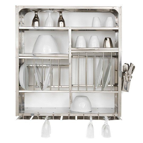 stainless steel wallmounted dish rack from French design company