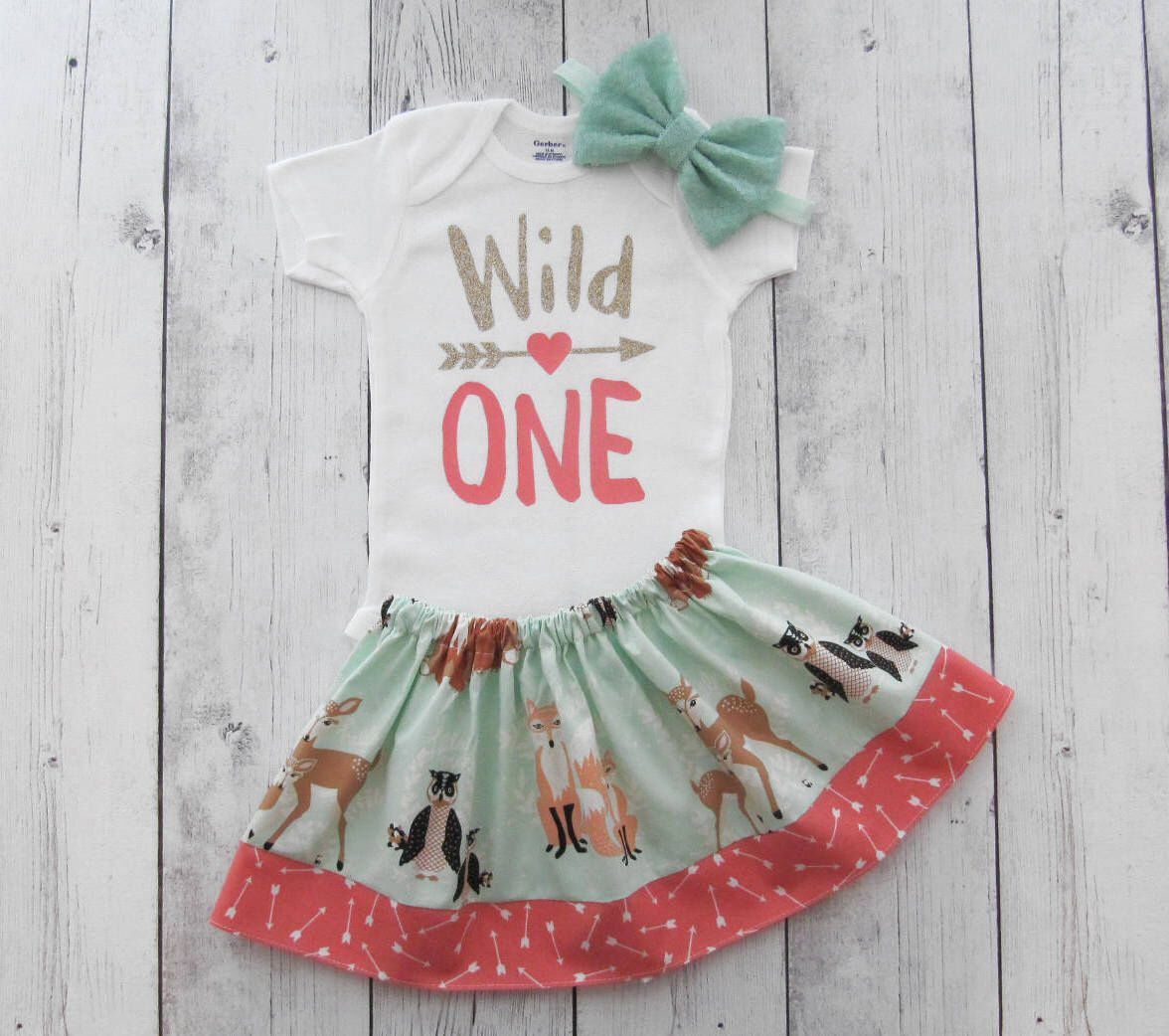 Wild One First Birthday Outfit in Mint and Coral Woodland