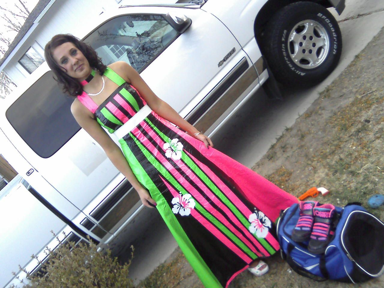 Hand made duct tape dress for prom - one of my nephew's friends