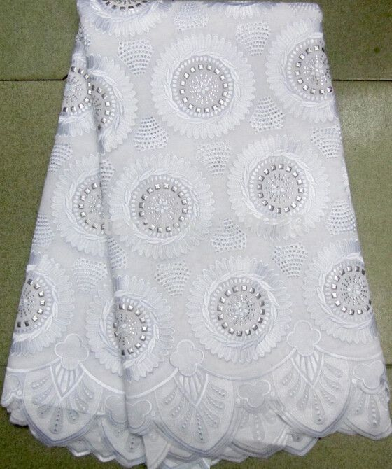af3baece6 White High quality wedding lace African Fabric - 100% Cotton Swiss ...