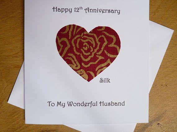 12th Anniversary Card Silk Twelve Years Marriage Twelfth Wedding Wife Husband