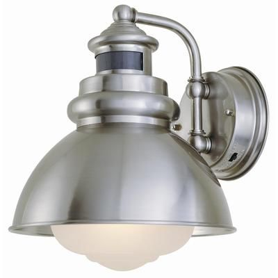 Hampton Bay   1 Light Outdoor Wall Lantern With Motion Sensor, Brushed  Nickel Finish