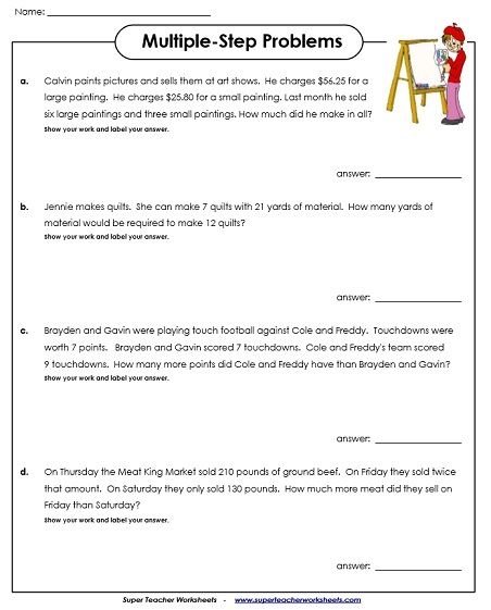 Multiple-Step Word Problem Worksheets Math rti Pinterest Word