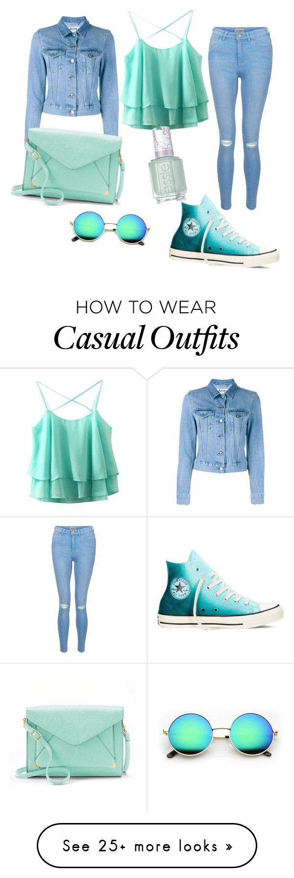"""MY CASUAL LOOK"" by angeladigrassi on Polyvore featuring New Look, Acne Studios, Converse, Apt. 9 and Essie"