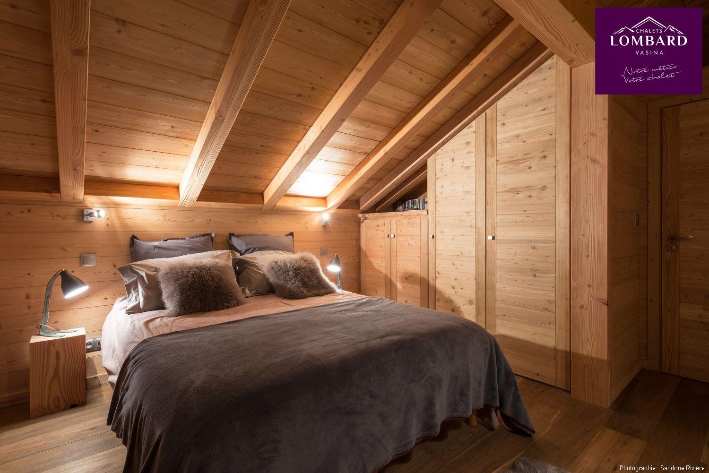 Chambre au design épuré. Une décoration tout bois, très