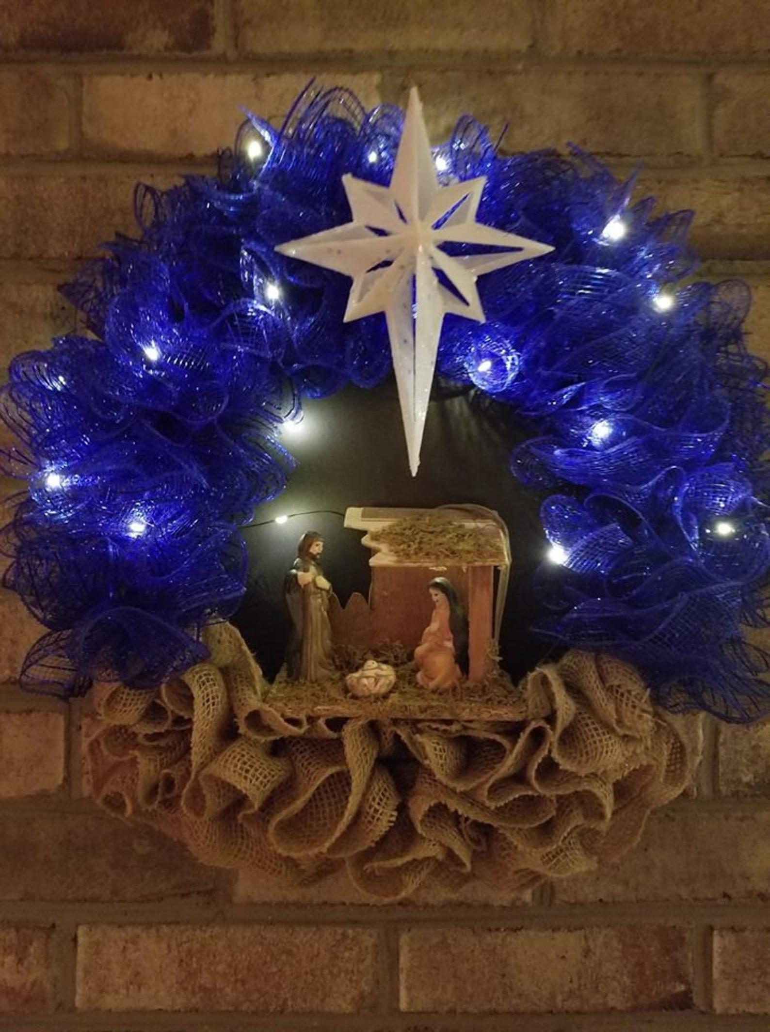 Lg20 Nativity Wreath Christian Wreath Nativity Crèche