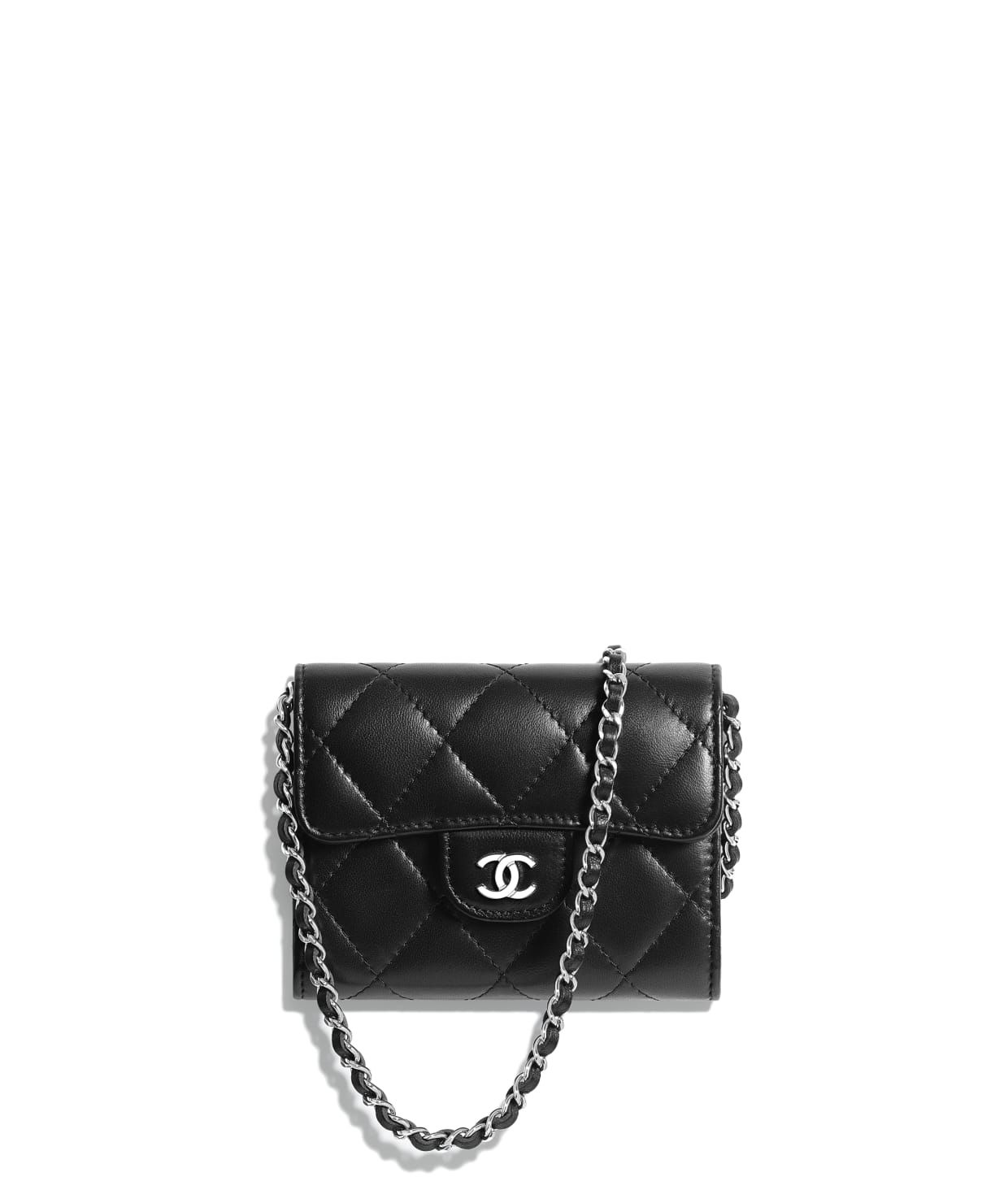 4652d807aa6 Discover the CHANEL Lambskin   Silver-Tone Metal Black Classic Clutch with  Chain