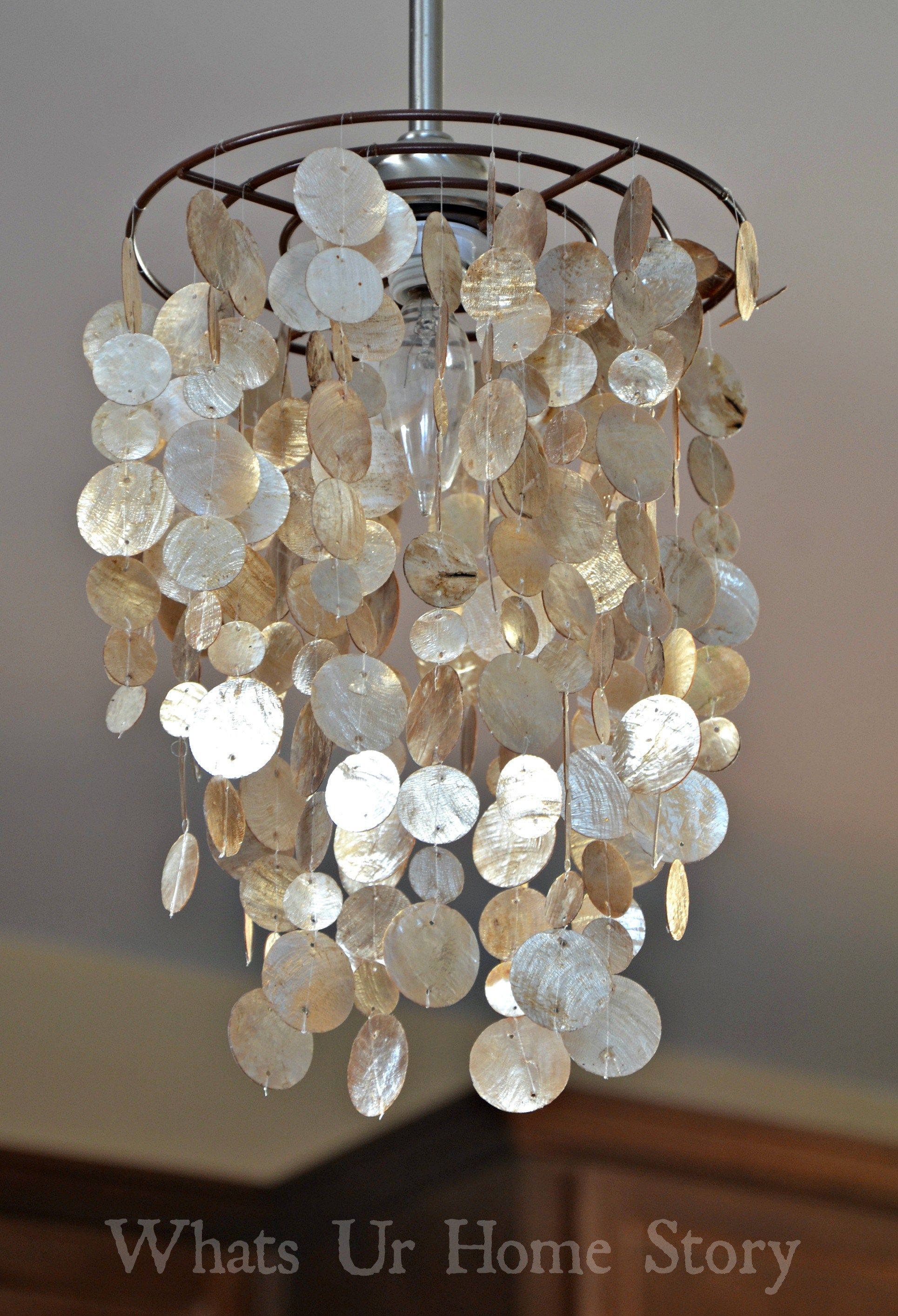 Diy capiz chandelier chandeliers shell and tutorials for Diy pendant light