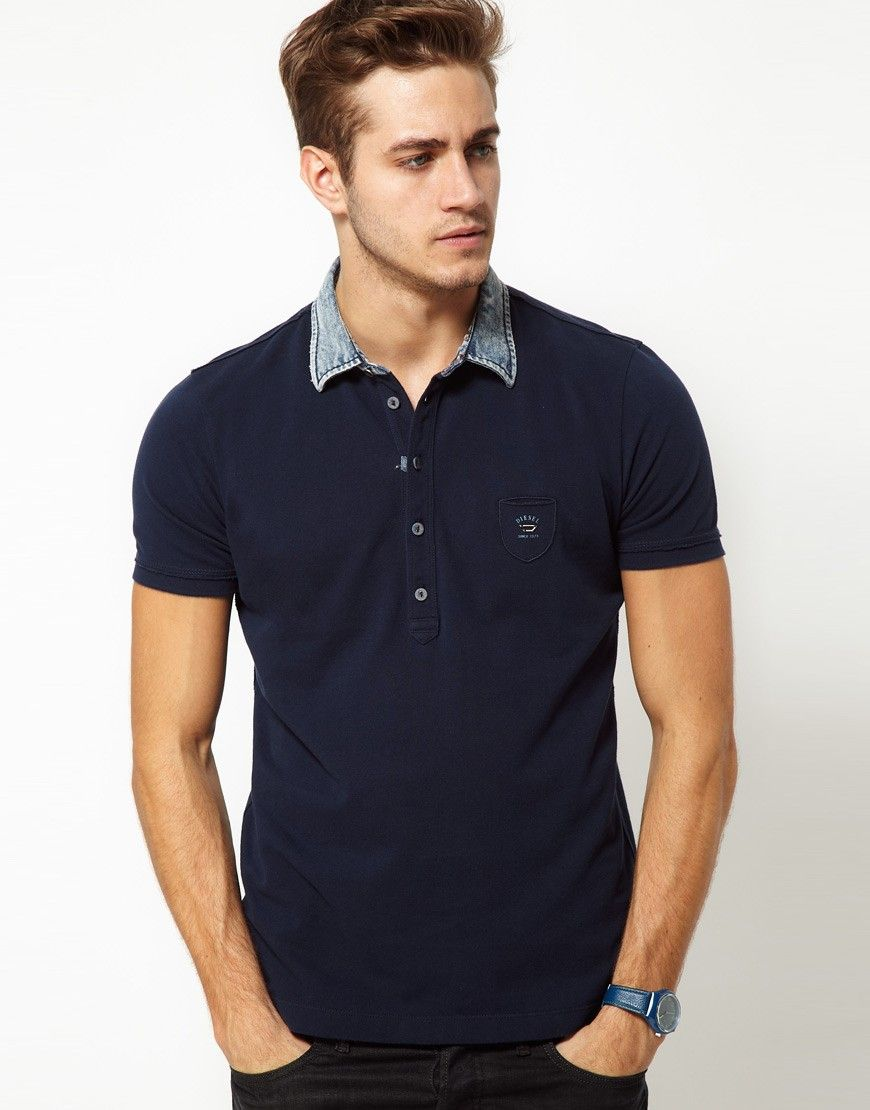Diesel Polo Shirt T-Whiskey Denim Collar. Find this Pin and ...