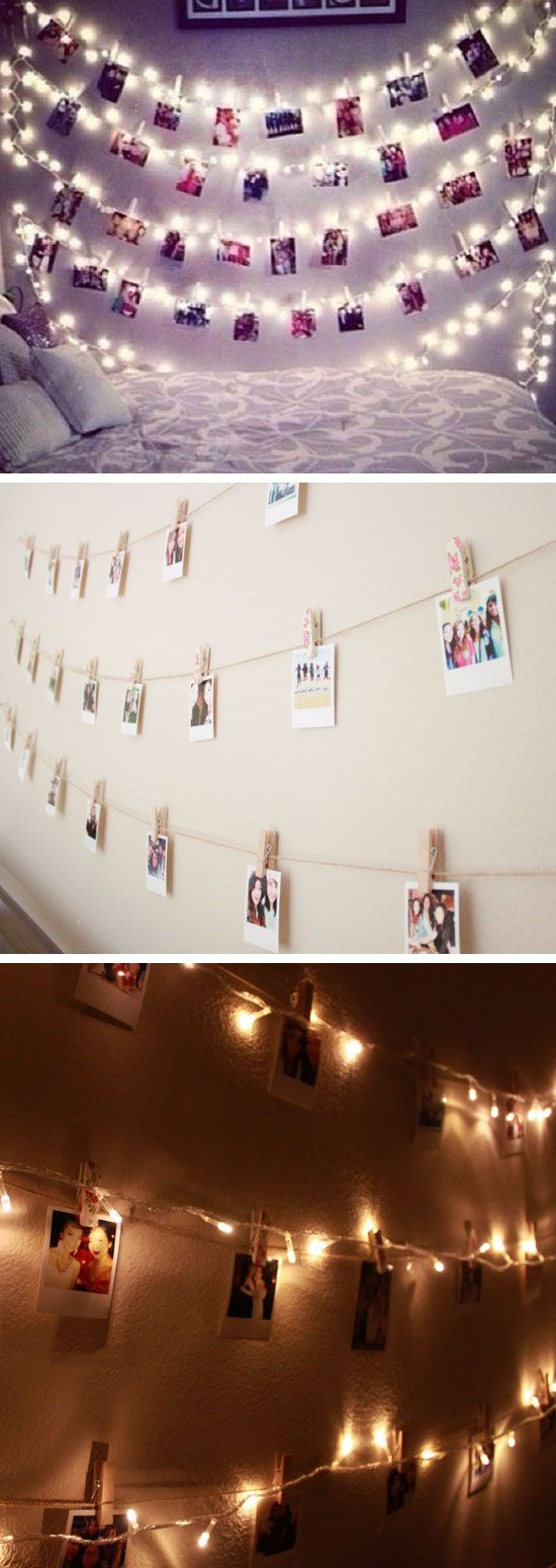 polaroid wall with string lights 24 diy teenage girl. Black Bedroom Furniture Sets. Home Design Ideas