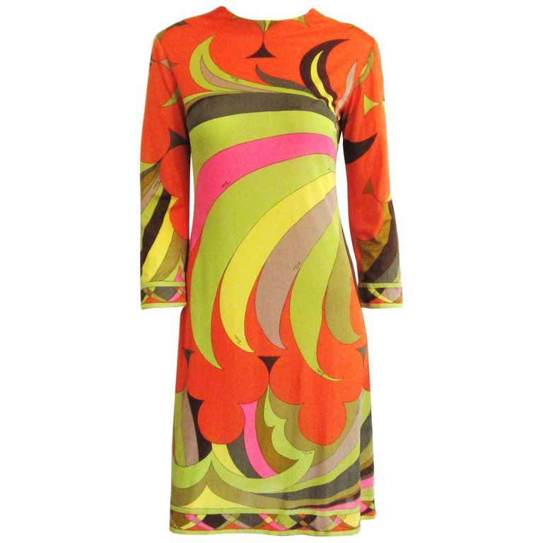 cb394d093 EMILIO PUCCI 1960s Multicolor Silk Long Sleeve Mod Print Dress XS -Small  Vintage | From