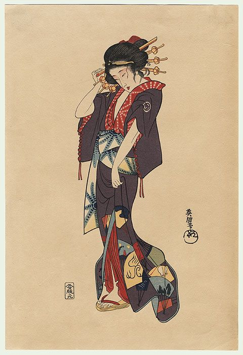 Beauty Adjusting a Hairpin by Eiho Hirezaki (1881 - 1970)