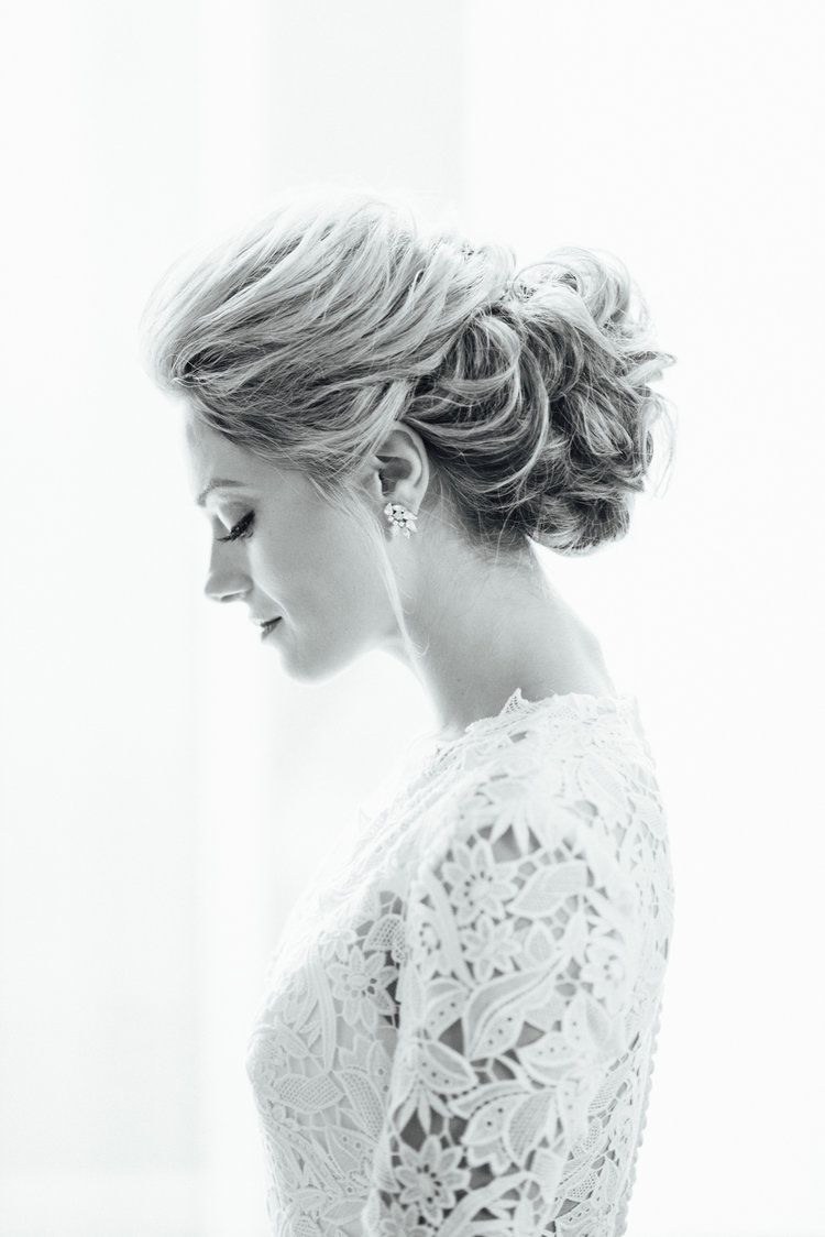Romantic textured updo. Loose, swept back bridal wedding hair ...