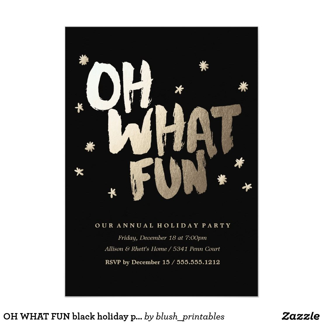 oh what fun black holiday party invitation christmas in july