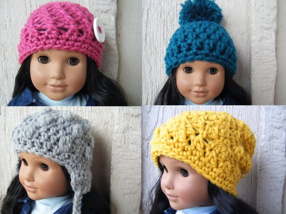 PATTERN: 4-pack Doll hats, Easy crochet pattern, PDF, American Girl Doll, stocking stuffer, InStAnt #dollhats