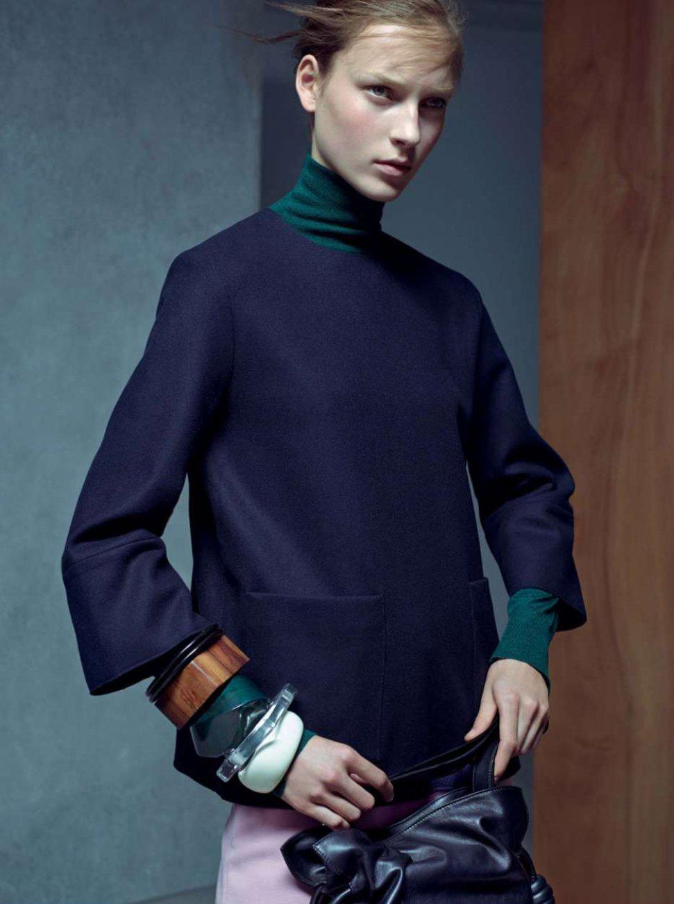 ' Be Precise 'Julia Bergshoeff con el maquillaje de Christelle Coquette, peluqueria por Damien Boissinot, editor de moda por Lucinda Chambers para Vogue UK January 2015 por Karim Sadli ph.