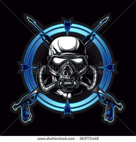 Diver Skull.Dead Diver.Skull illustration  cf839892747