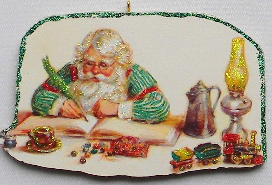 Santa Checking List Rayo Lamp Glittered Christmas Ornament Vtg Greeting Card
