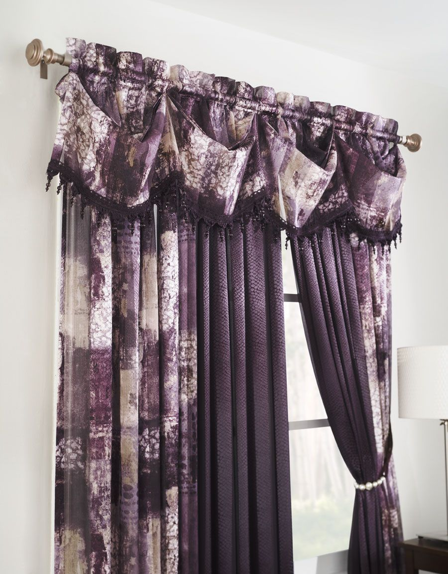 The Madagascar Window Panel Has A Beautiful Sheer Jacquard Pattern With Jeweled Tasseled Federal Valance