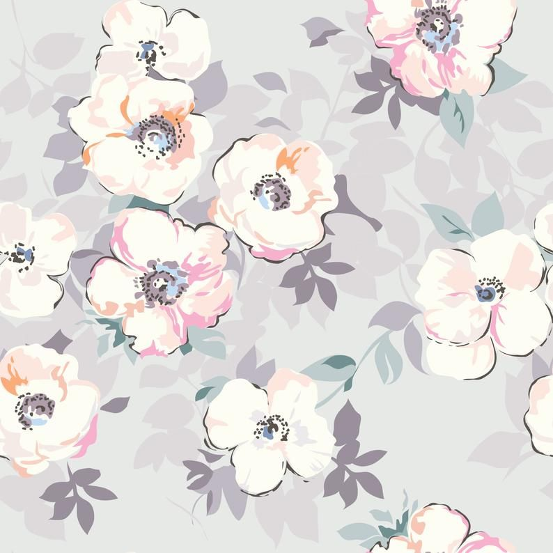High Quality Removable Peel And Stick Self Adhesive Wallpaper Etsy Watercolor Flower Prints Grey Floral Wallpaper Watercolor Flowers