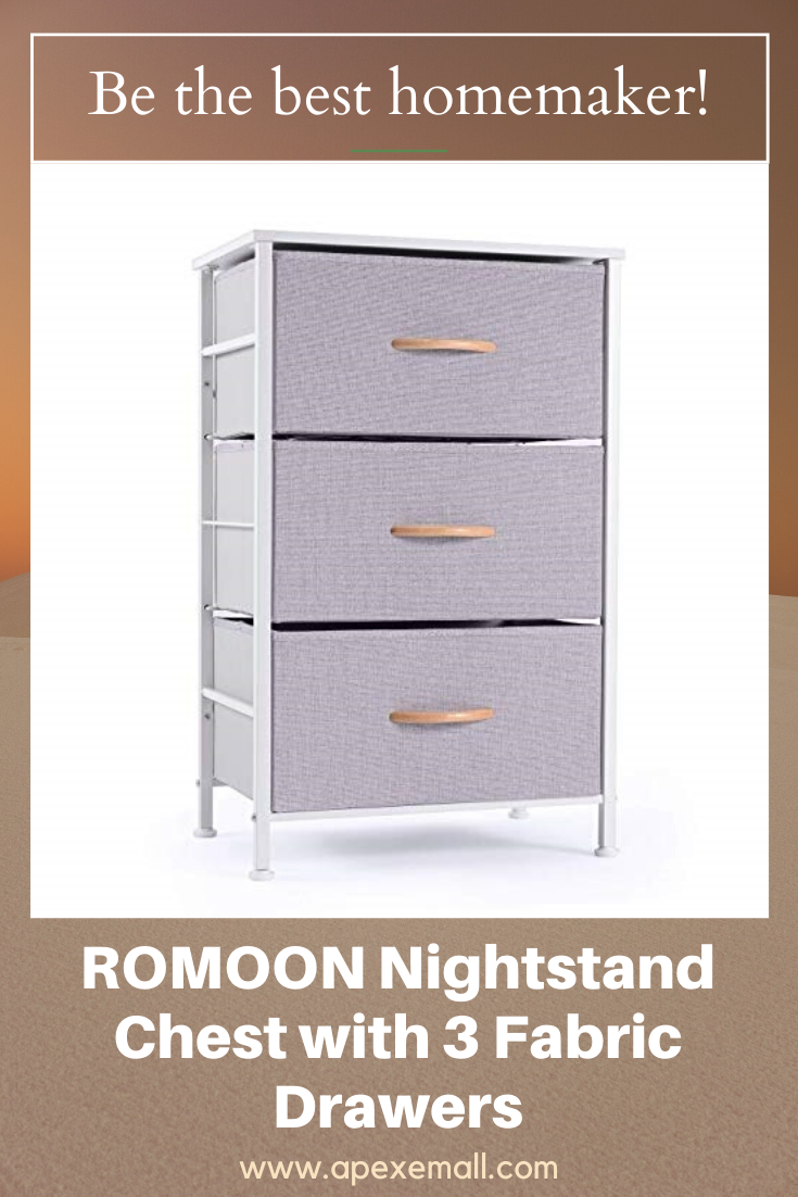 Romoon Nightstand Chest With 3 Fabric Drawers In 2020 Fabric Drawers Drawers Bedside Furniture