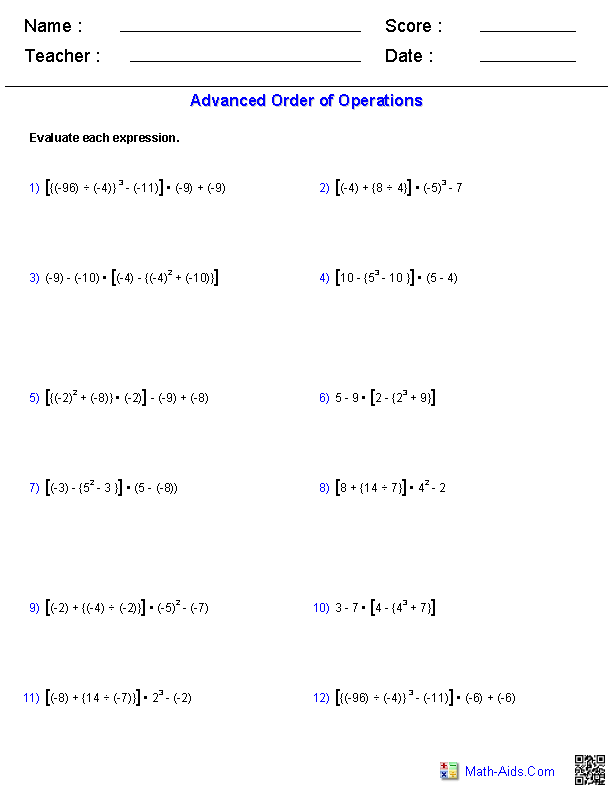 Advanced Order of Operations Problems | Technology | Pinterest ...