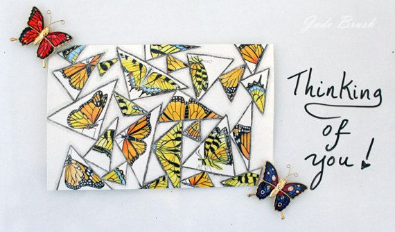 Triangles and Butterflies Colored Pencil 5X7 Cards: Set of 10 by jadebrushArt on Etsy