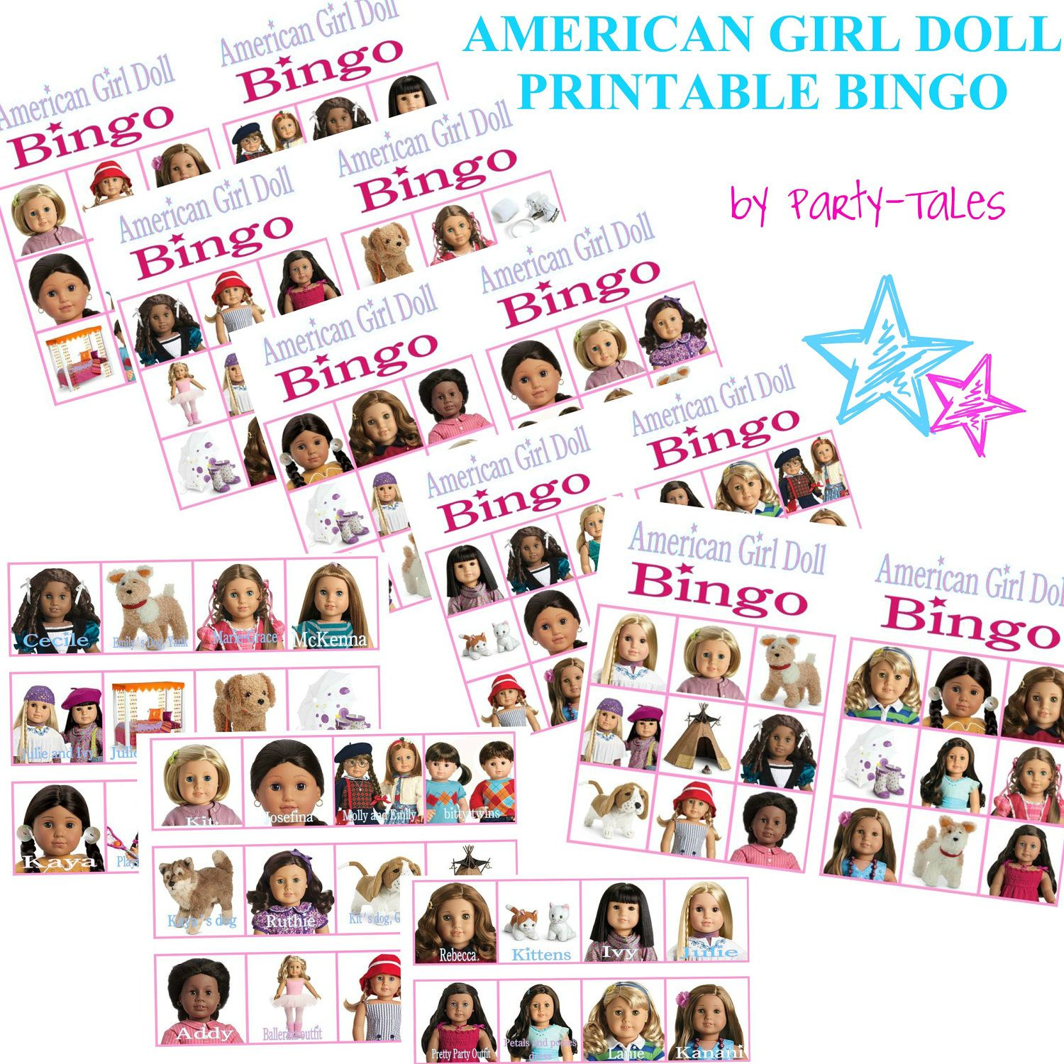 INSTANT+DOWNLOAD+American+girl+Doll+Printable+by+ShopPartyTales,+$ ...